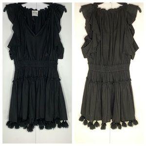 MISA LA Dress Black Pom Poms